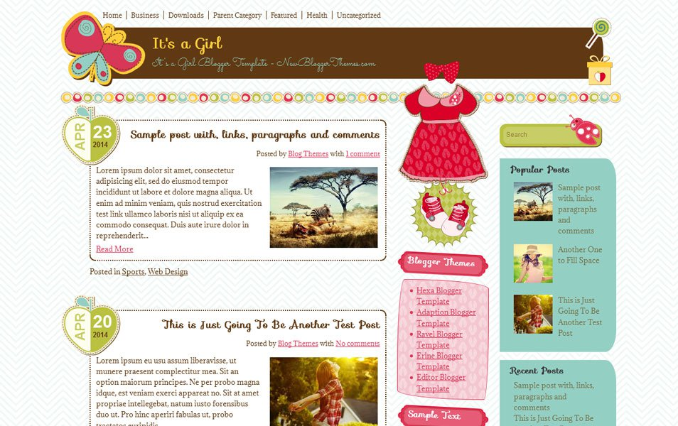 It's A Girl Responsive Minimalist Blogger Tema
