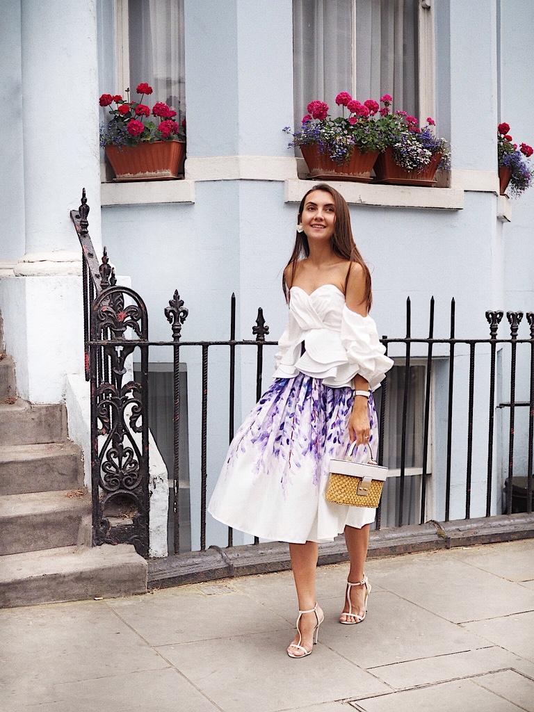 midi skirt wisteria print