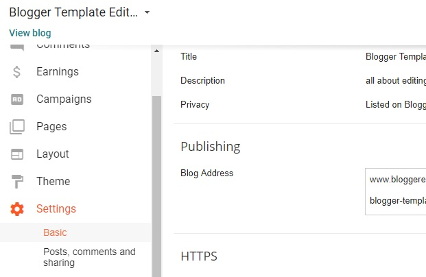 Blogger template editing 1 first go to settings then to basic pronofoot35fo Images