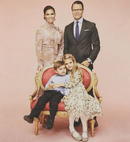 Crown Princess Victoria, Prince Daniel, Princess Estelle and Prince Oscar. Princess Estelle wore a floral dress by Bonpoint