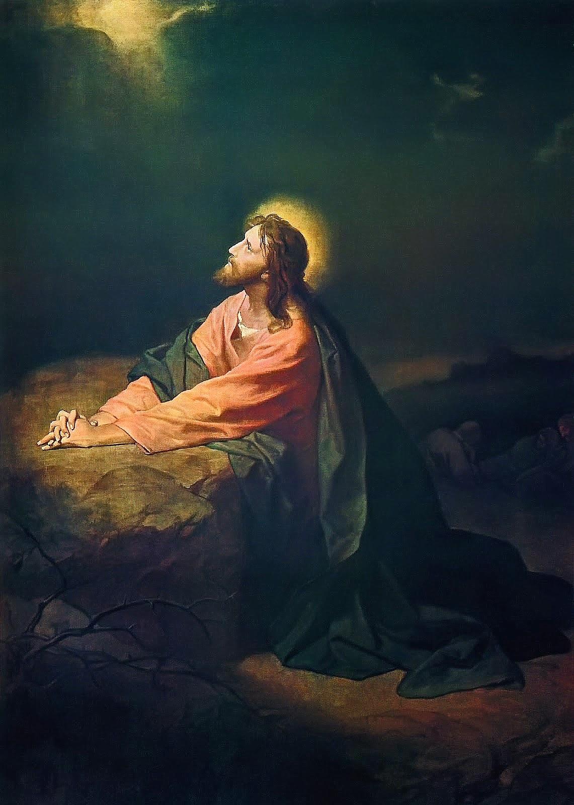 Art now and then heinrich hofmann - Jesus praying in the garden of gethsemane ...