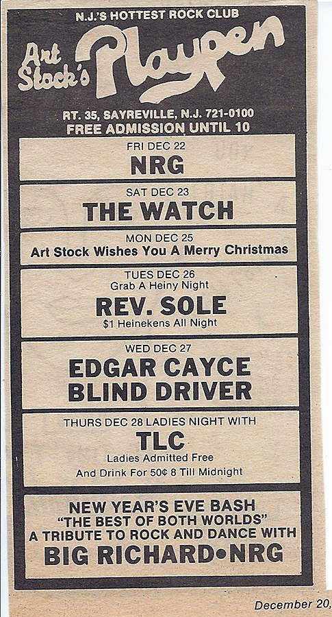 Playpen Lounge band line up December 1989