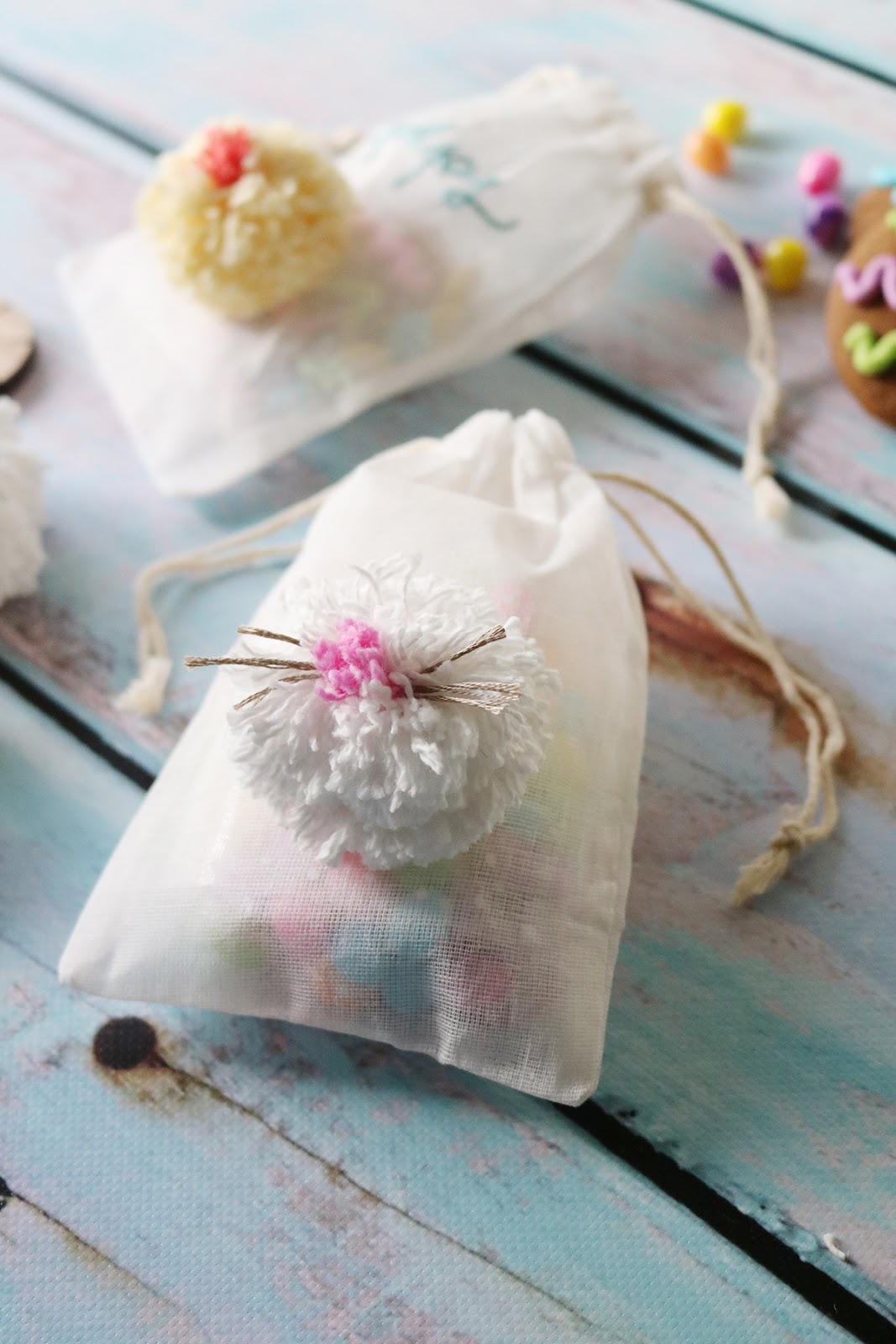 Easter gift bag inspiration - pom poms, tissue paper bunny ears and paper bags | Creative Bag
