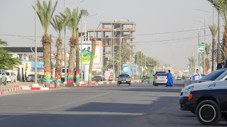 Broad roads with old cars in Nouakchott