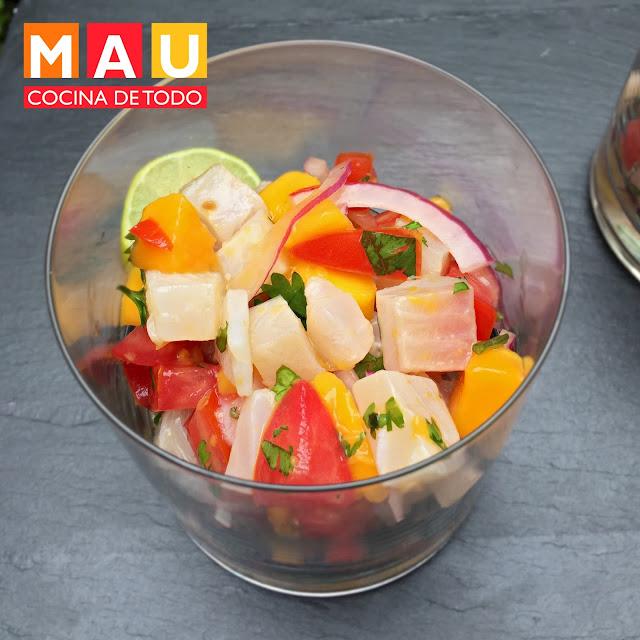 delicioso ceviche de pescado con mango fresco y facil