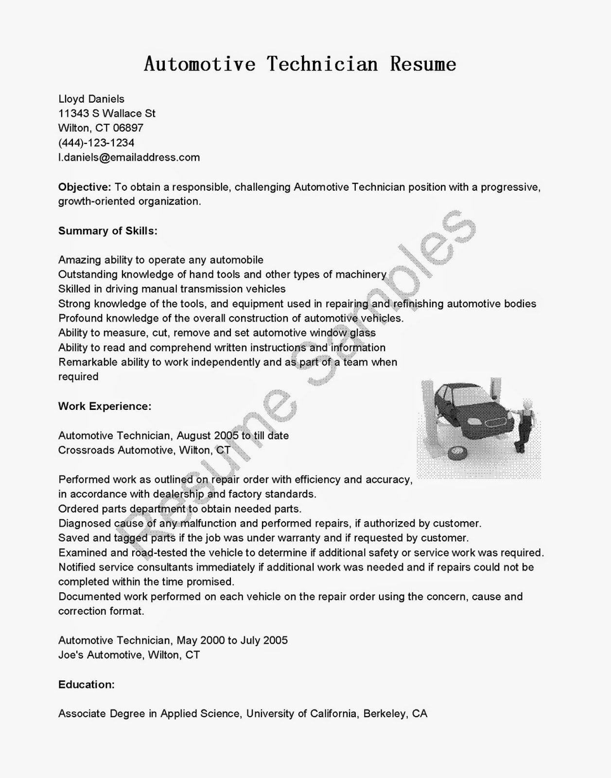 Automotive Technician Resume Resume Samples Automotive Technician Resume Sample
