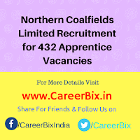 Northern Coalfields Limited Recruitment for 432 Apprentice Vacancies