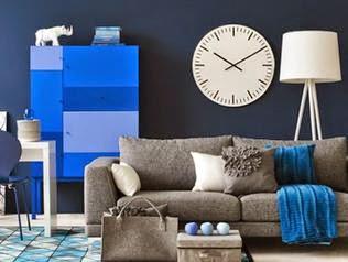 Sala con colores azules