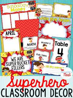 Superhero Themed- Classroom Decor Collection to transform your classroom- pick a scheme or a theme to make your classroom decorated and organized