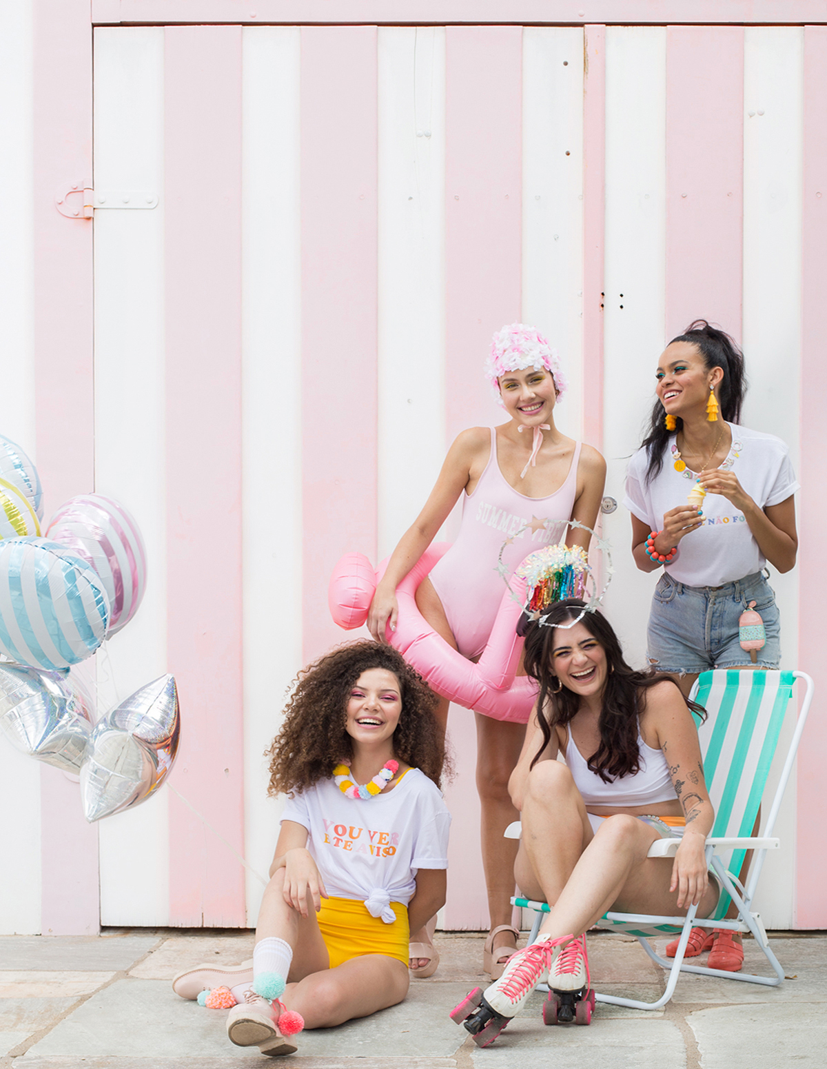 carnaval fantasia com maiô body DIY nadadora retrô bloco de rua fantasias coloridas faceis de fazer baratas blog do math 2