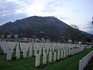 The Commonwealth Cemetery in Cassino with the abbey on top of the mountain in the background