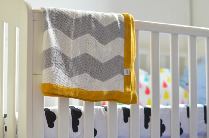 chevrons blanket, unisex nursery ideas, cloud themed nursery
