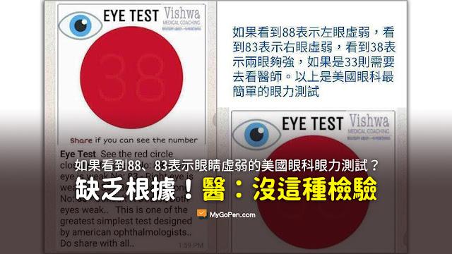 如果看到88表示左眼虛弱 看到83表示右眼虛弱 看到38表示兩眼夠強 如果是33則需要去看醫師 謠言 美國眼科最簡單的眼力測試