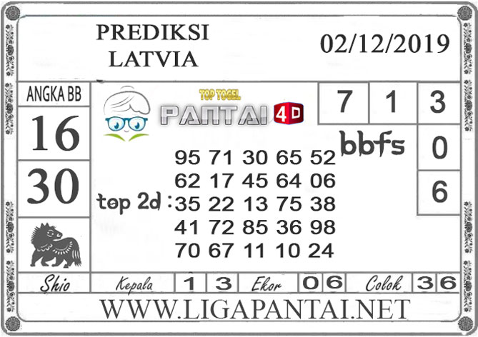 PREDIKSI TOGEL LATVIA PANTAI4D 02 DESEMBER 2019