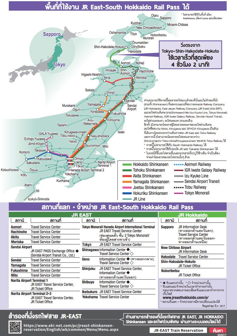 เส้นทางที่สามารถใช้ JR East-South Hokkaido Rail Pass ได้