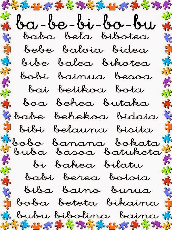 Dominicas haur hezkuntza palabras para leer con la letra b for La b b