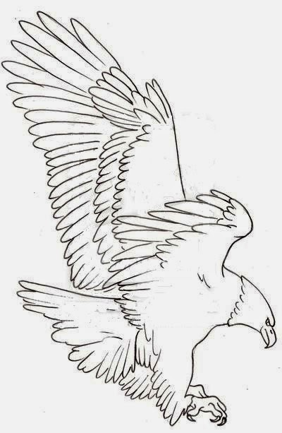 Eagle hunting tattoo stencil