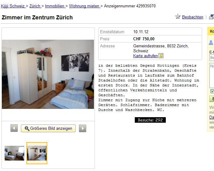 Zurich Wohnungsbetrugsinformationen