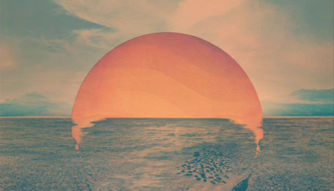 Abstract picture of a type of sun rising and breaking into a sea scape.