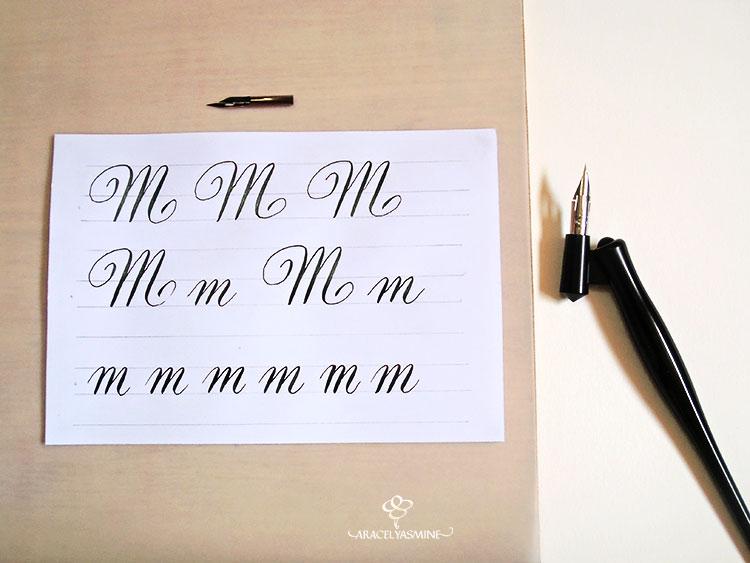 """Caligrafía copperplate, ¿cómo escribir la letra """"M""""?"""