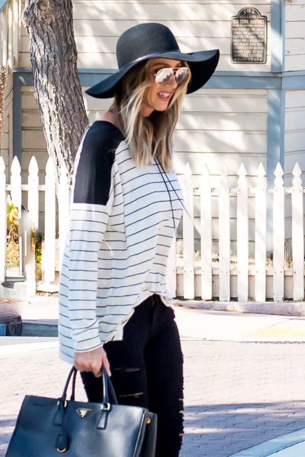 cream and black striped top