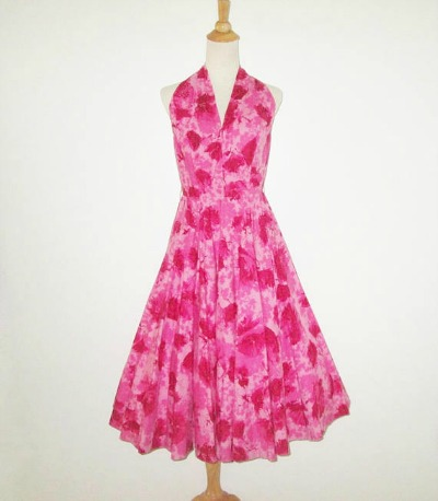 Eddy George California Pink and Red Floral Halter Dress Say It With Vintage