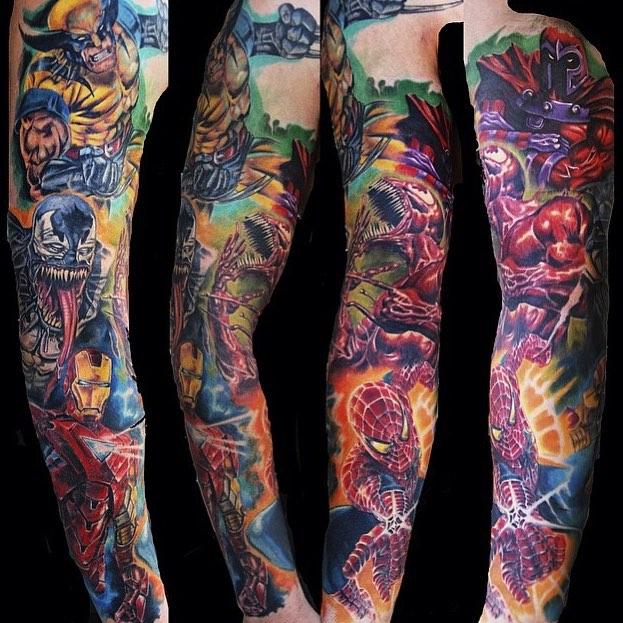 Marvel superheroes tattoo tattoo geek ideas for best for Marvel sleeve tattoo black and white