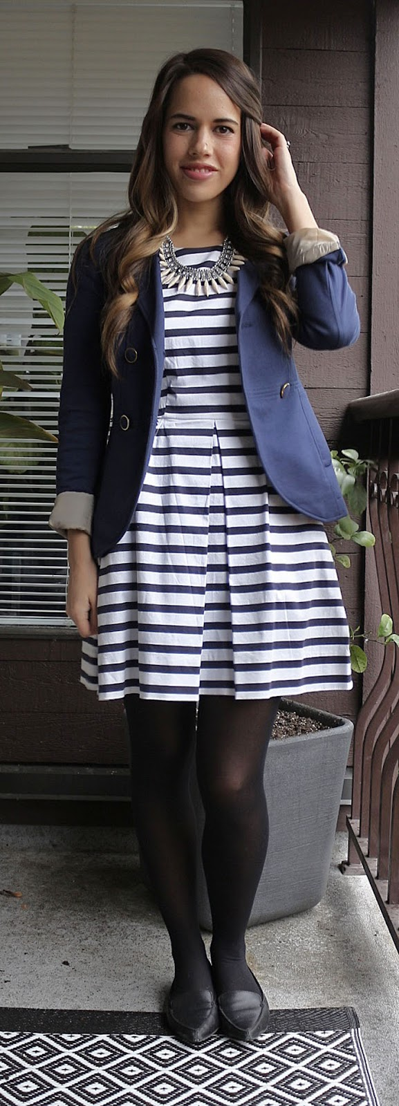 Jules in Flats - Gap Striped Fit and Flare Dress, H&M Blazer