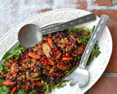Celebration Salad (Maple-Roasted Carrots with Arugula, Dill, Cranberry Vinaigrette, Pomegranate and Glazed Pecans)