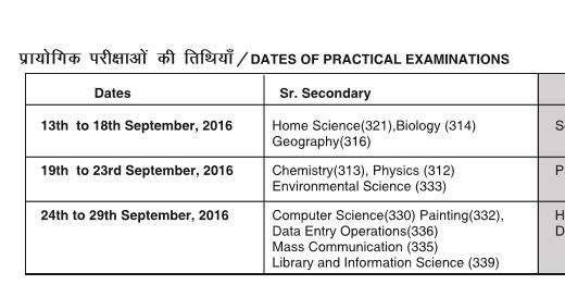 time table for ignou exams