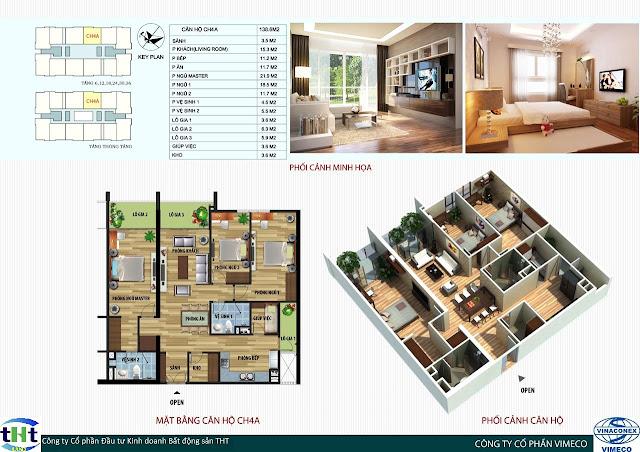 Mặt bằng căn 4A chung cư CT4 Vimeco