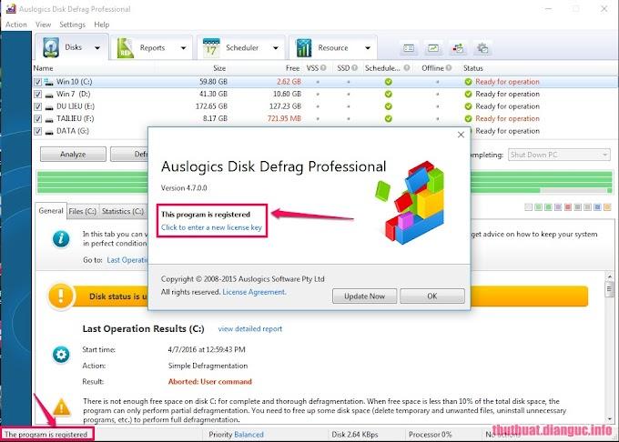 Download Auslogics Disk Defrag Professional 4.7.0 Keygen - Phần mềm chống phân mảnh ổ cứng