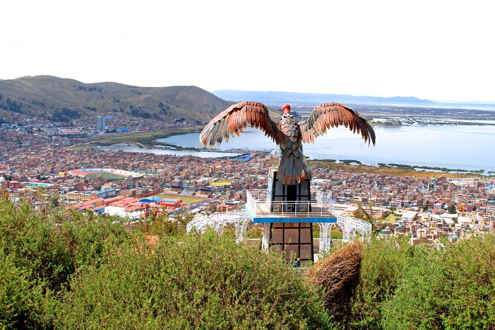 Eagle statue above Puno, Peru - travel & culture blog