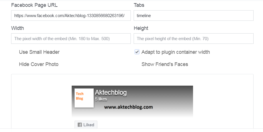 Facebook Widget for Website
