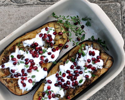 Roasted Eggplant with Pomegranate & Buttermilk-Yogurt Sauce @ AVeggieVenture.com, use globe eggplant for Meatless Monday, smaller eggplant for stunning side dishes. Vegetarian. Gluten Free. WW6.
