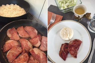 Mittagessen Saltim Bocca und Jasminreis