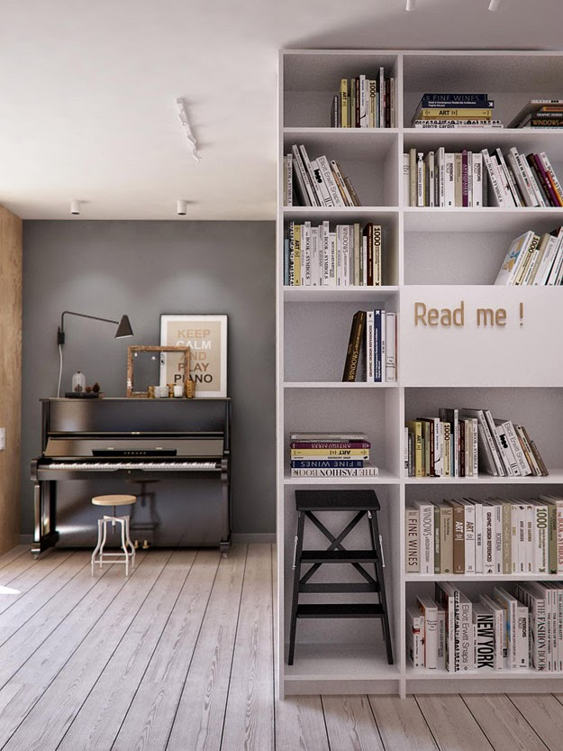 piano and bookshelves