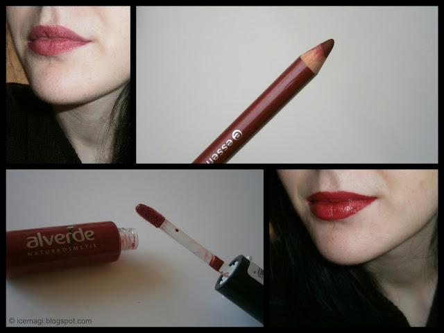 Red lips | Alverde liplaquer & Essence lip liner