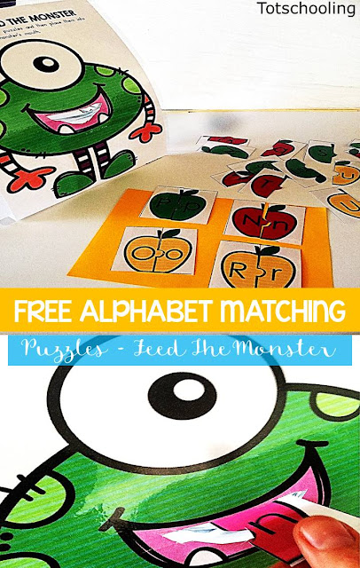 FREE alphabet game for preschoolers. Match letter cases to complete the apple puzzles, feed them to the monster, then write down the letters they fed to the monster. Fun game to practice the alphabet and handwriting.