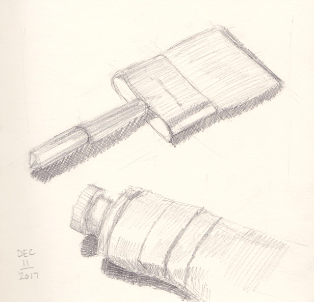 Daily Art 12-11-17 still life sketch in graphite number 65-66 - paint brush and gouache tube