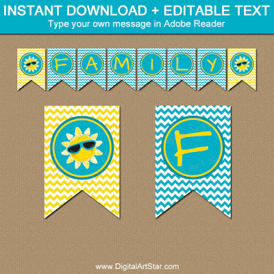 summer family reunion banner printable turquoise yellow