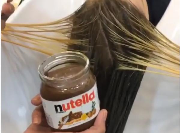 teñirse el cabello con nutella y leche condensada