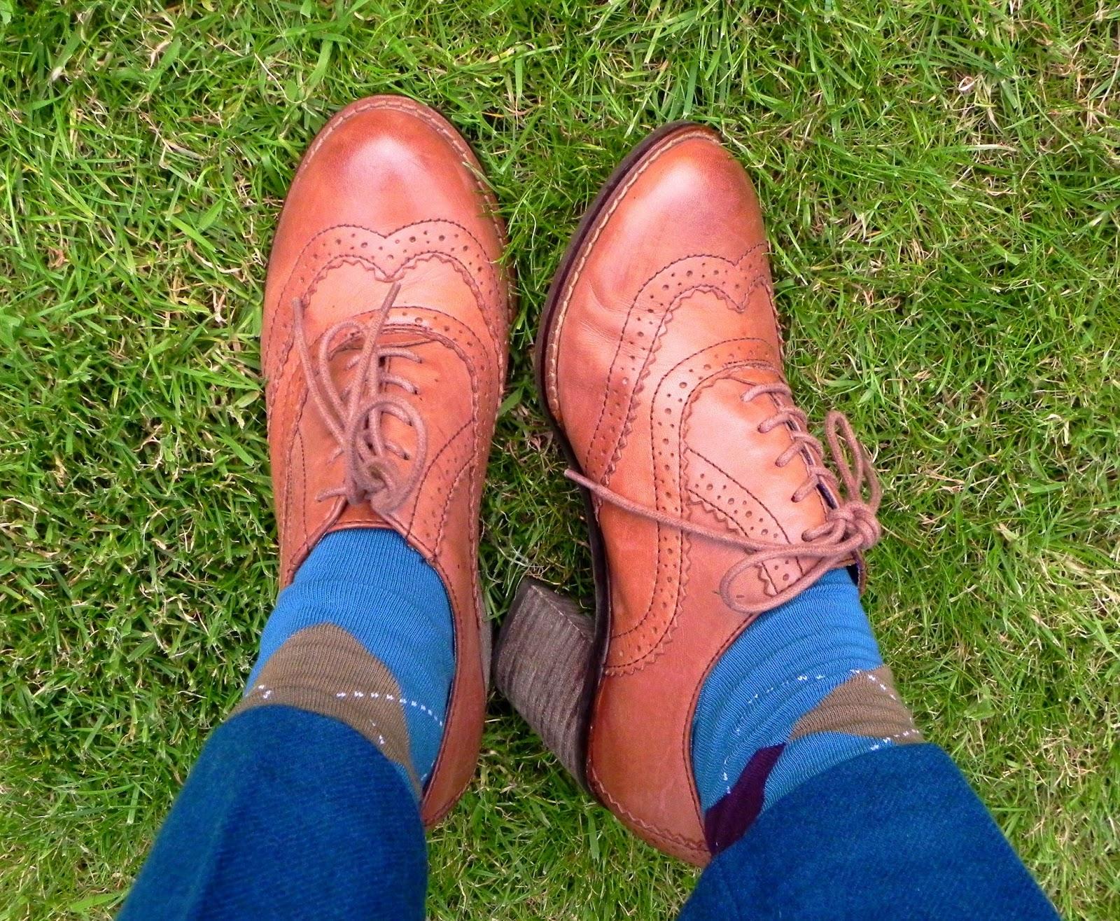 Clarks chunky brogues, argyll socks.
