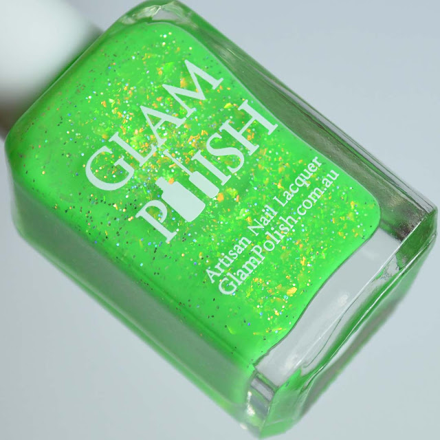 lime green nail polish with flakies