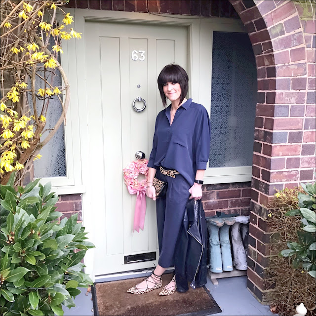 My Midlife Fashion, great plains timed out tencel culottes, great plains batwing sleeve oversized shirt, massimo dutti leather biker jacket, j crew leopard print bag, zara leopard print pointed flats