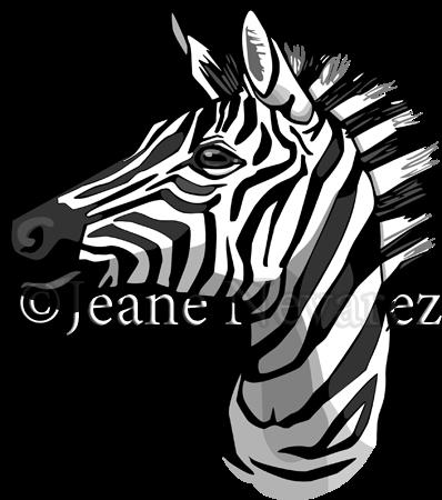 Art by Jeane Nevarez: zebra portrait