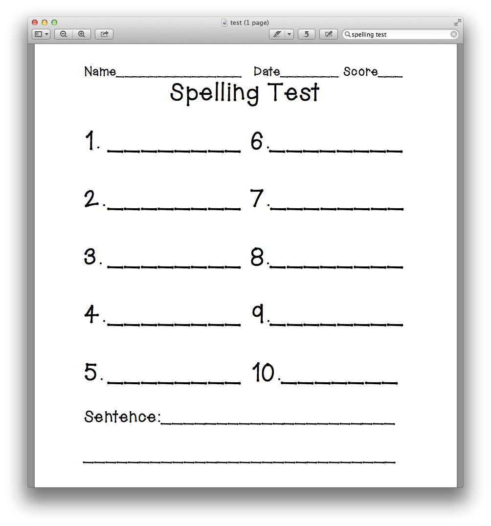 free printable spelling test template - that first grade blog november 2012