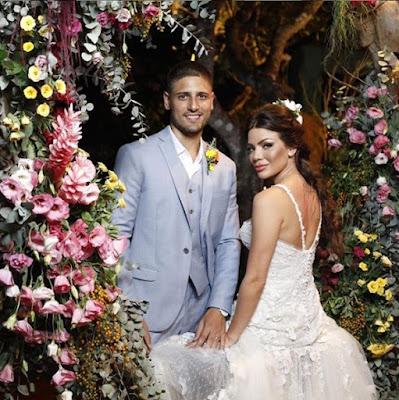 O casamento teve toque rústico e foi celebrado no fim da tarde