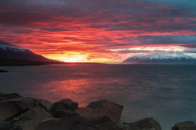 Springtime midnight sun in Akureyri, Iceland