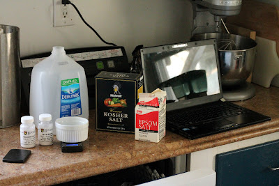 The ingredients and equipment for water adjustment.